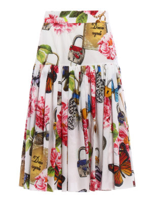 Dolce & Gabbana: Knee length skirts & Midi - Printed cotton circle skirt