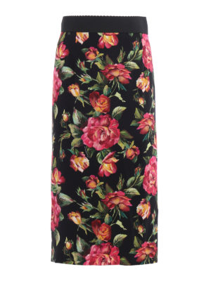 Dolce & Gabbana: Knee length skirts & Midi - Rose printed cady pencil skirt