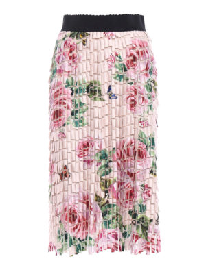 Dolce & Gabbana: Knee length skirts & Midi - Roses pattern collage effect skirt