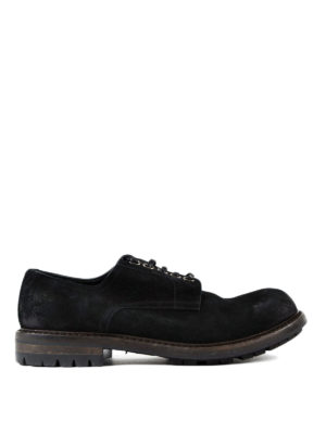 Dolce & Gabbana: lace-ups shoes - Black suede low top lace-ups