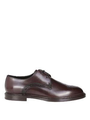 DOLCE & GABBANA: scarpe stringate - Derby brogue in pelle spazzolata di vitello