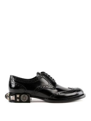 DOLCE & GABBANA: scarpe stringate - Brogue con tacco borchiato
