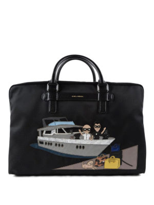 Dolce & Gabbana: laptop bags & briefcases - #dgfamily patch nylon briefcase