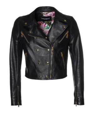 Dolce & Gabbana: leather jacket - Black leather biker crop jacket