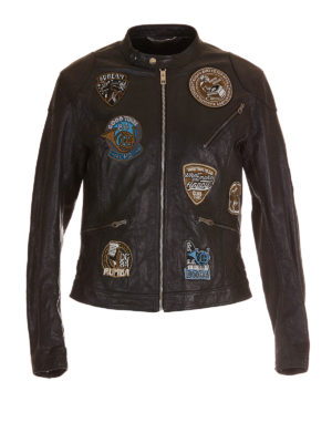 Dolce & Gabbana: leather jacket - Musical patch leather jacket