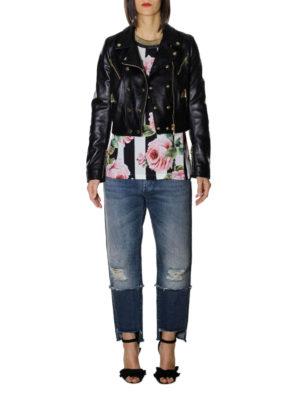 Dolce & Gabbana: leather jacket online - Black leather biker crop jacket