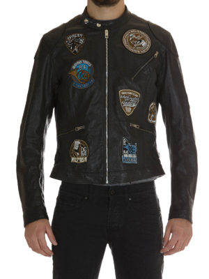 Dolce & Gabbana: leather jacket online - Musical patch leather jacket