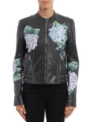 Dolce & Gabbana: leather jacket online - Ortensia print leather biker jacket