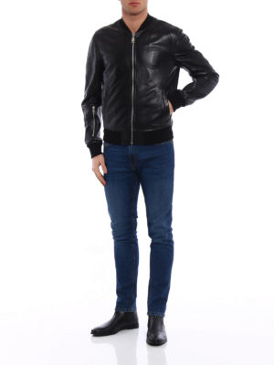 Dolce & Gabbana: leather jacket online - Soft lambskin classic bomber