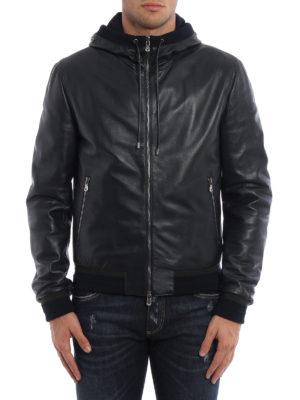 Dolce & Gabbana: leather jacket online - Soft leather hooded jacket