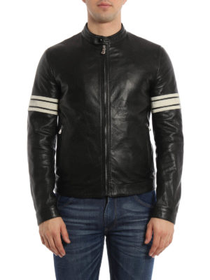 Dolce & Gabbana: leather jacket online - Striped sleeves leather jacket
