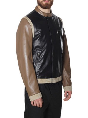 Dolce & Gabbana: leather jacket online - Suede detailed leather jacket