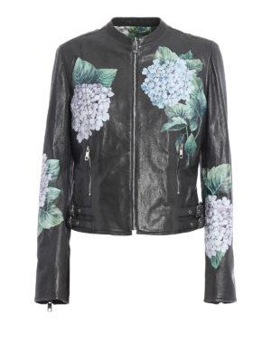 Dolce & Gabbana: leather jacket - Ortensia print leather biker jacket