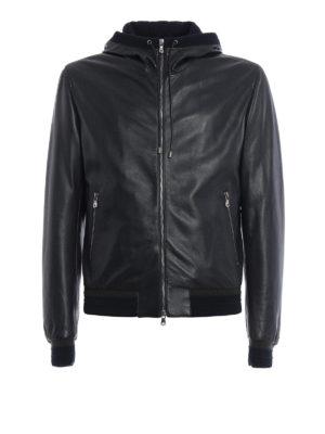 Dolce & Gabbana: leather jacket - Soft leather hooded jacket
