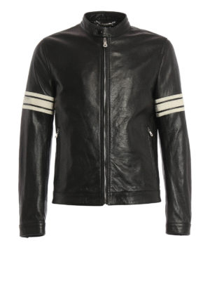 Dolce & Gabbana: leather jacket - Striped sleeves leather jacket