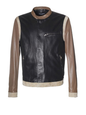 Dolce & Gabbana: leather jacket - Suede detailed leather jacket