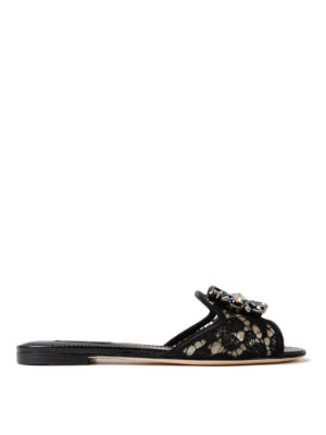 Dolce & Gabbana: Loafers & Slippers - Bianca Taormina lace jewel slippers