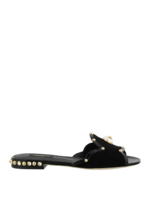Dolce & Gabbana: Loafers & Slippers - Embellished open toe slippers