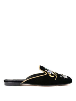 Dolce & Gabbana: Loafers & Slippers - Jackie embroidered velvet slippers