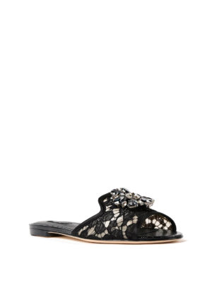 Dolce & Gabbana: Loafers & Slippers online - Bianca Taormina lace jewel slippers