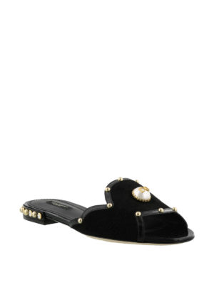 Dolce & Gabbana: Loafers & Slippers online - Embellished open toe slippers