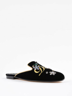 Dolce & Gabbana: Loafers & Slippers online - Jackie embroidered velvet slippers