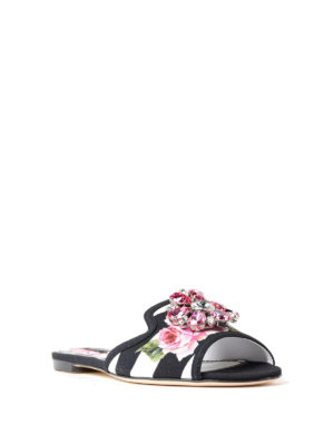 Dolce & Gabbana: Loafers & Slippers online - Rose print cady jewel slippers