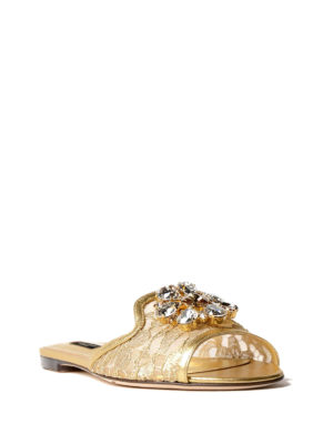 Dolce & Gabbana: Loafers & Slippers online - Taormina lace Bianca jewel slippers