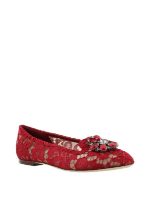 Dolce & Gabbana: Loafers & Slippers online - Vally dark red lace jewel slippers
