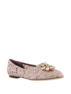 Dolce & Gabbana: Loafers & Slippers online - Vally pink lace jewel slippers