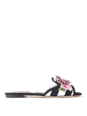 Dolce & Gabbana: Loafers & Slippers - Rose print cady jewel slippers