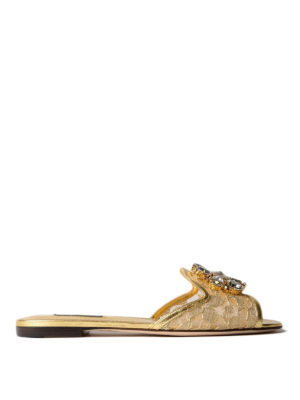 Dolce & Gabbana: Loafers & Slippers - Taormina lace Bianca jewel slippers