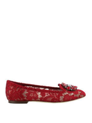 Dolce & Gabbana: Loafers & Slippers - Vally dark red lace jewel slippers