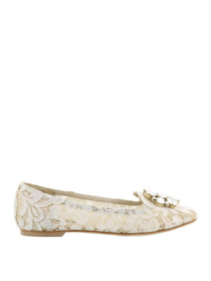 Dolce & Gabbana: Loafers & Slippers - Vally ice lace jewel slippers