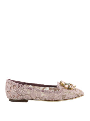 Dolce & Gabbana: Loafers & Slippers - Vally pink lace jewel slippers