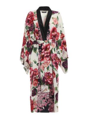 DOLCE & GABBANA: cappotti lunghi - Cappotto kimono in seta stampa Peonie