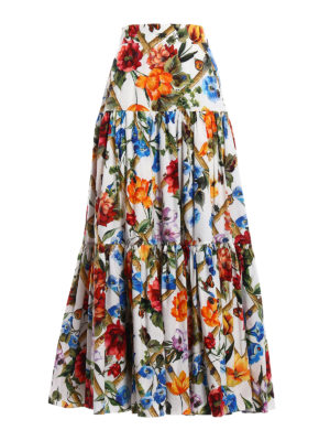 Dolce & Gabbana: Long skirts - Floral cotton poplin flounced skirt