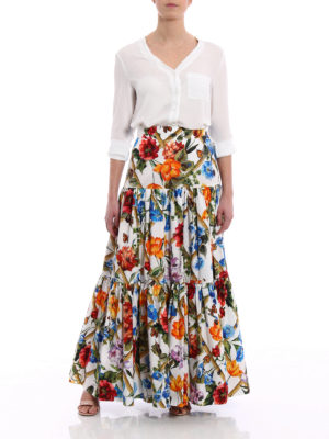 Dolce & Gabbana: Long skirts online - Floral cotton poplin flounced skirt