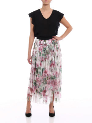 Dolce & Gabbana: Long skirts online - Roses print fringed flounced skirt