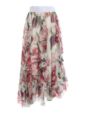DOLCE & GABBANA: Gonne Lunghe - Gonna lunga in seta stampa Peonie con volant