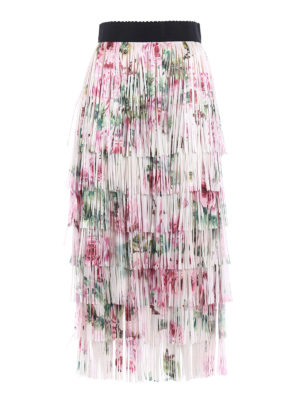 Dolce & Gabbana: Long skirts - Roses print fringed flounced skirt