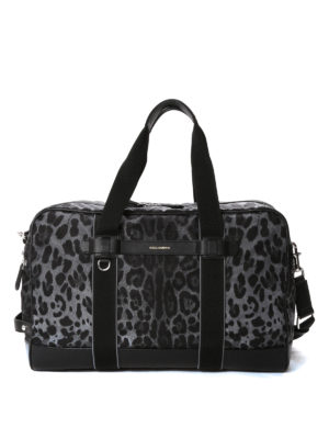 Dolce & Gabbana: Luggage & Travel bags - Leo print nylon duffel bag