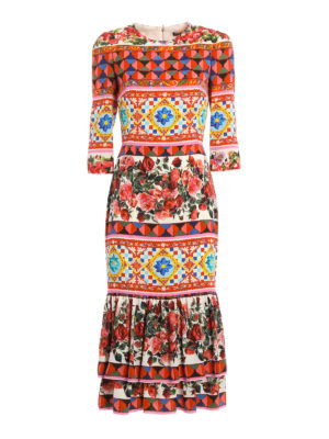 Dolce & Gabbana: maxi dresses - Mambo print midi silk dress