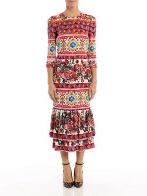 Dolce & Gabbana: maxi dresses online - Mambo print midi silk dress