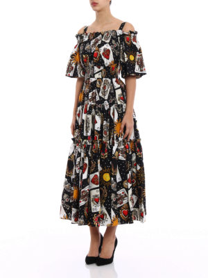 Dolce & Gabbana: maxi dresses online - Playing card printed cotton dress