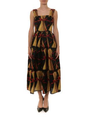 Dolce & Gabbana: maxi dresses online - Spaghetti print silk organdie dress
