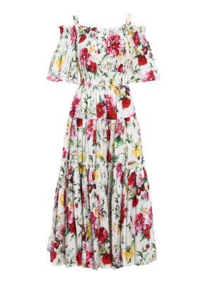 Dolce & Gabbana: maxi dresses - Roses print cotton maxi dress