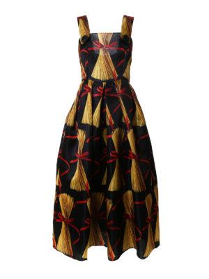 Dolce & Gabbana: maxi dresses - Spaghetti print silk organdie dress