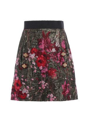 Dolce & Gabbana: mini skirts - Floral lurex jacquard A-line skirt