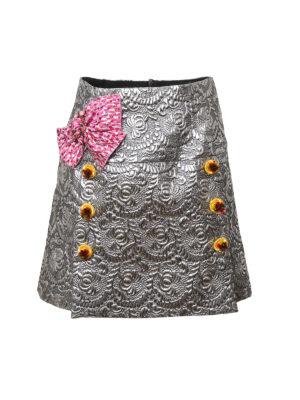 Dolce & Gabbana: mini skirts - Lurex bow jacquard mini skirt